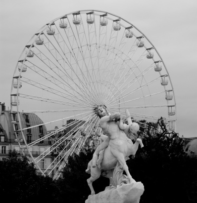 Paris Ferris Wheel and Statue - France