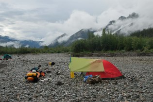 Tent on Gravel Bar - Hart River