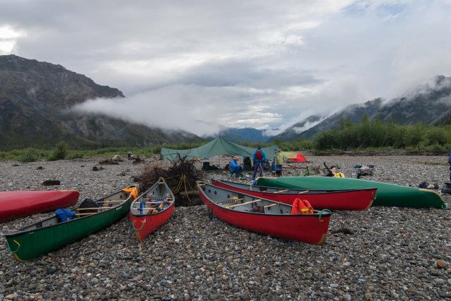 Campsite and boats - Hart River