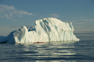Paddler and Iceberg - Newfoundland
