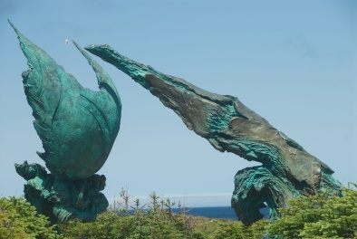 Meeting of Two Worlds sculpture - Newfoundland
